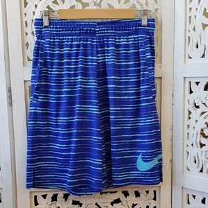 Men's Nike Dark and Navy Blue dri-fit shorts.
